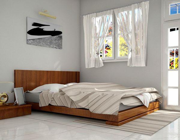 Giường gỗ xoan đào hiện đại